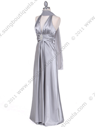 7122 Silver Satin Halter Evening Gown - Silver, Alt View Medium