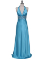 7125 Turquoise Halter Beaded Evening Gown