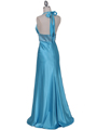7125 Turquoise Halter Beaded Evening Gown - Turquoise, Back View Thumbnail