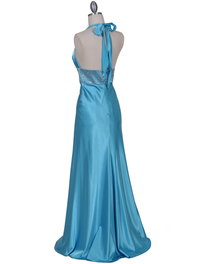 7125 Turquoise Halter Beaded Evening Gown - Turquoise, Back View Medium