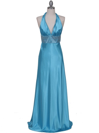 7125 Turquoise Halter Beaded Evening Gown - Turquoise, Front View Medium