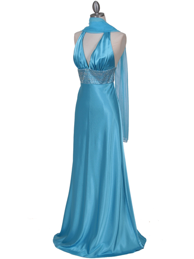 7125 Turquoise Halter Beaded Evening Gown - Turquoise, Alt View Medium