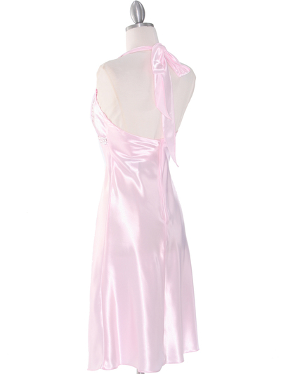 7127 Pink Sweetheart Halter Cocktail Dress - Pink, Back View Medium