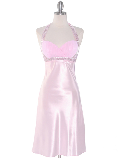 7127 Pink Sweetheart Halter Cocktail Dress - Pink, Front View Medium