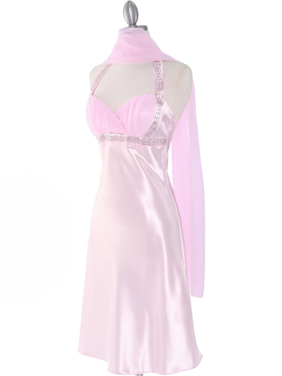 7127 Pink Sweetheart Halter Cocktail Dress - Pink, Alt View Medium