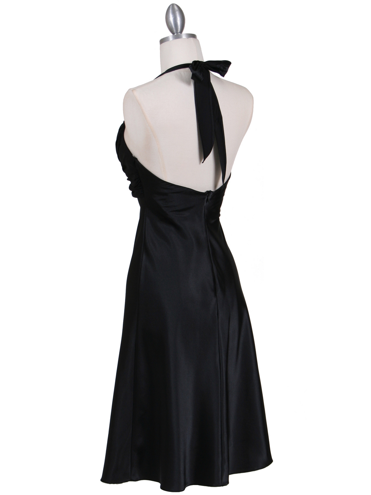 Black Halter Cocktail Dress with Rhinestone Pin | Sung Boutique L.A.