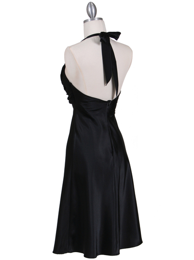 7129 Black Halter Cocktail Dress with Rhinestone Pin - Black, Back View Medium