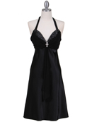 Black Halter Cocktail Dress with Rhinestone Pin