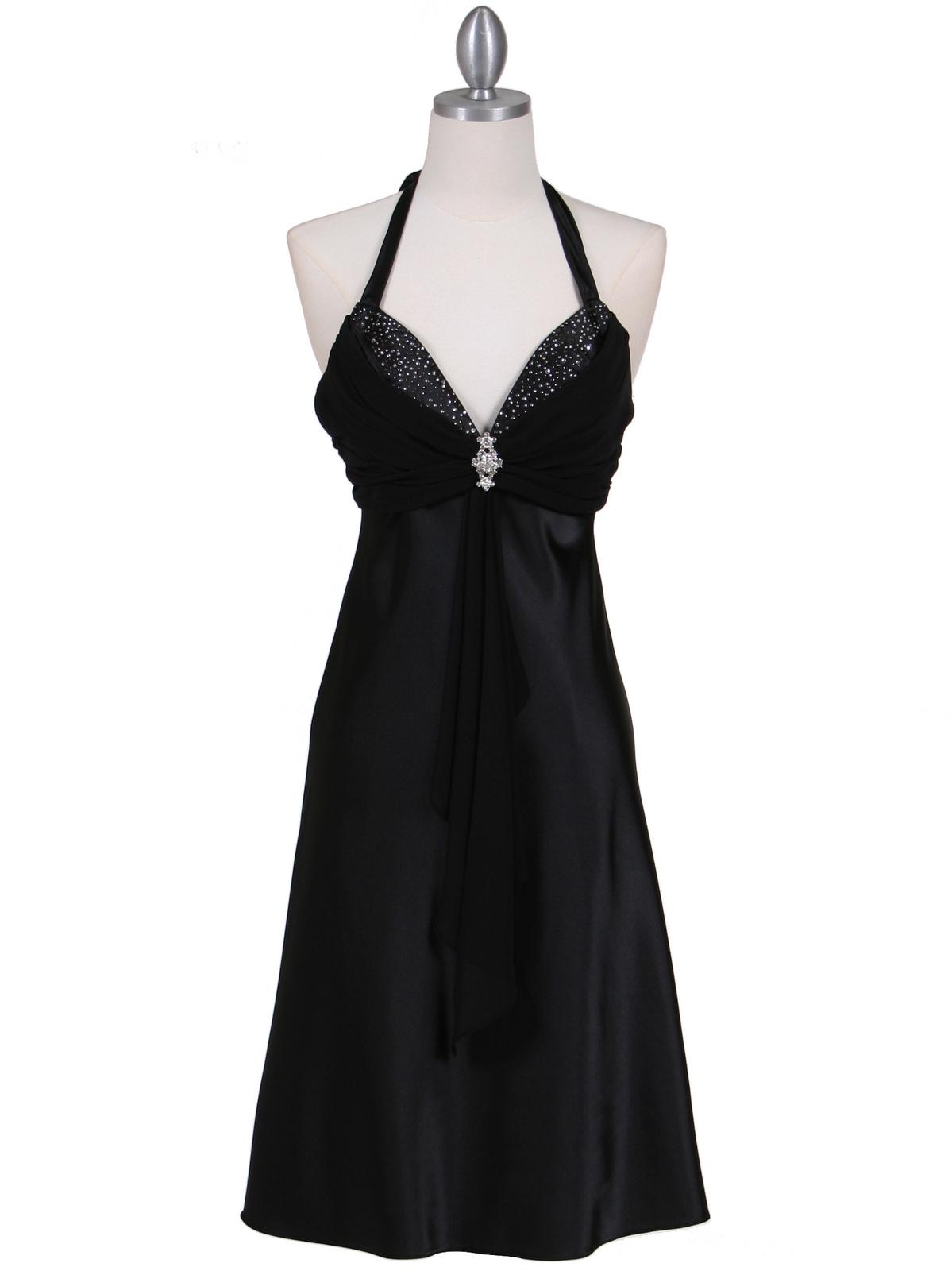 Black Halter Cocktail Dress With Rhinestone Pin Sung