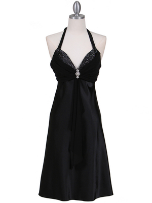 7129 Black Halter Cocktail Dress with Rhinestone Pin, Black