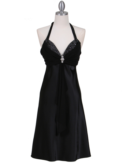 7129 Black Halter Cocktail Dress with Rhinestone Pin - Black, Front View Medium