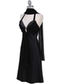 7129 Black Halter Cocktail Dress with Rhinestone Pin - Black, Alt View Thumbnail