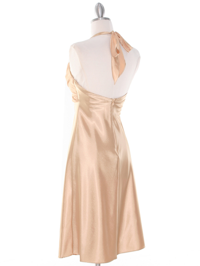 7129 Gold Halter Cocktail Dress with Rhinestone Pin - Gold, Back View Medium