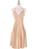 Gold Halter Cocktail Dress with Rhinestone Pin