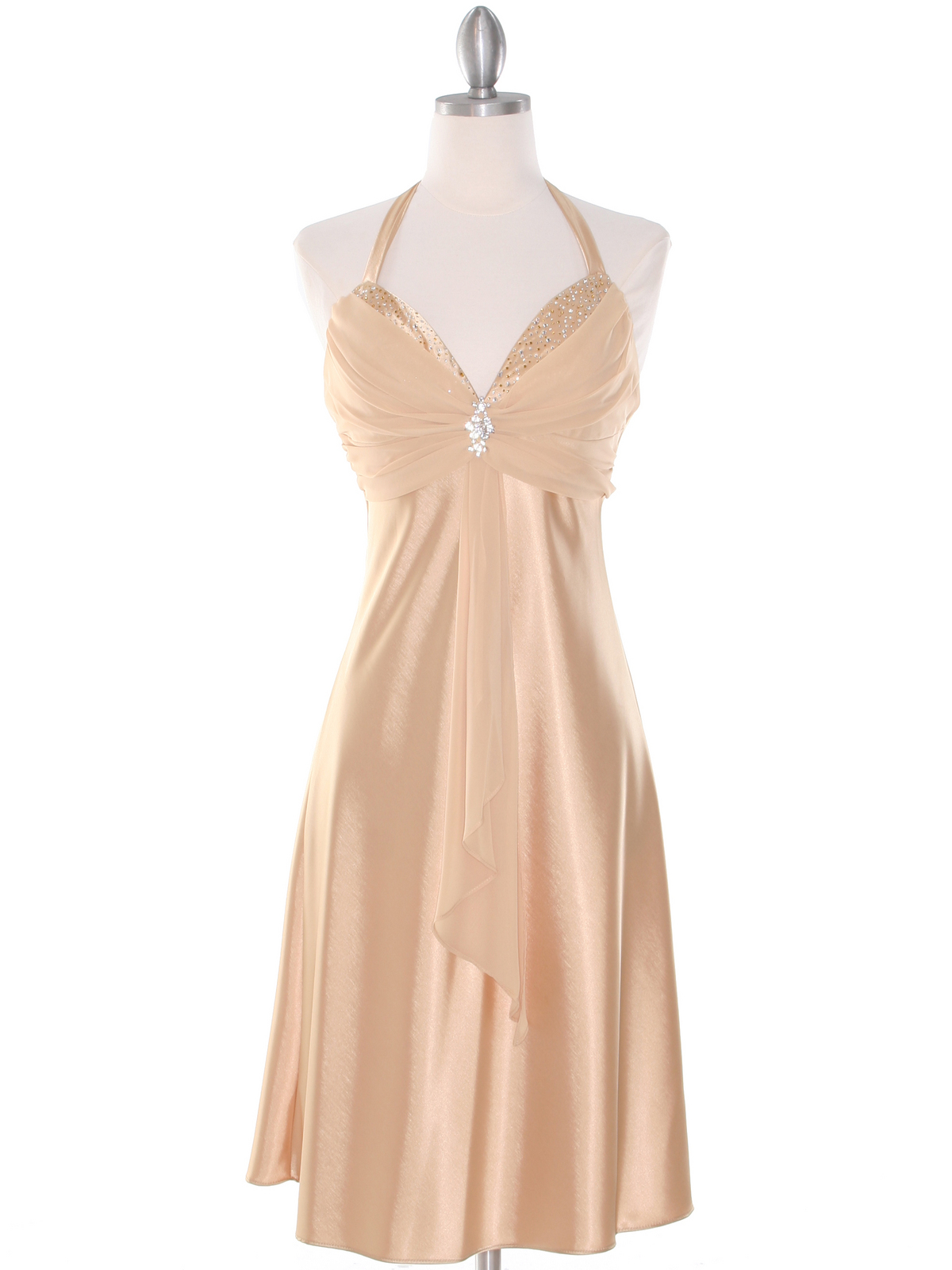 Gold Halter Cocktail Dress with Rhinestone Pin | Sung Boutique L.A.