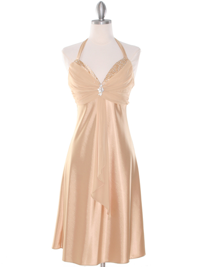 7129 Gold Halter Cocktail Dress with Rhinestone Pin - Gold, Front View Medium