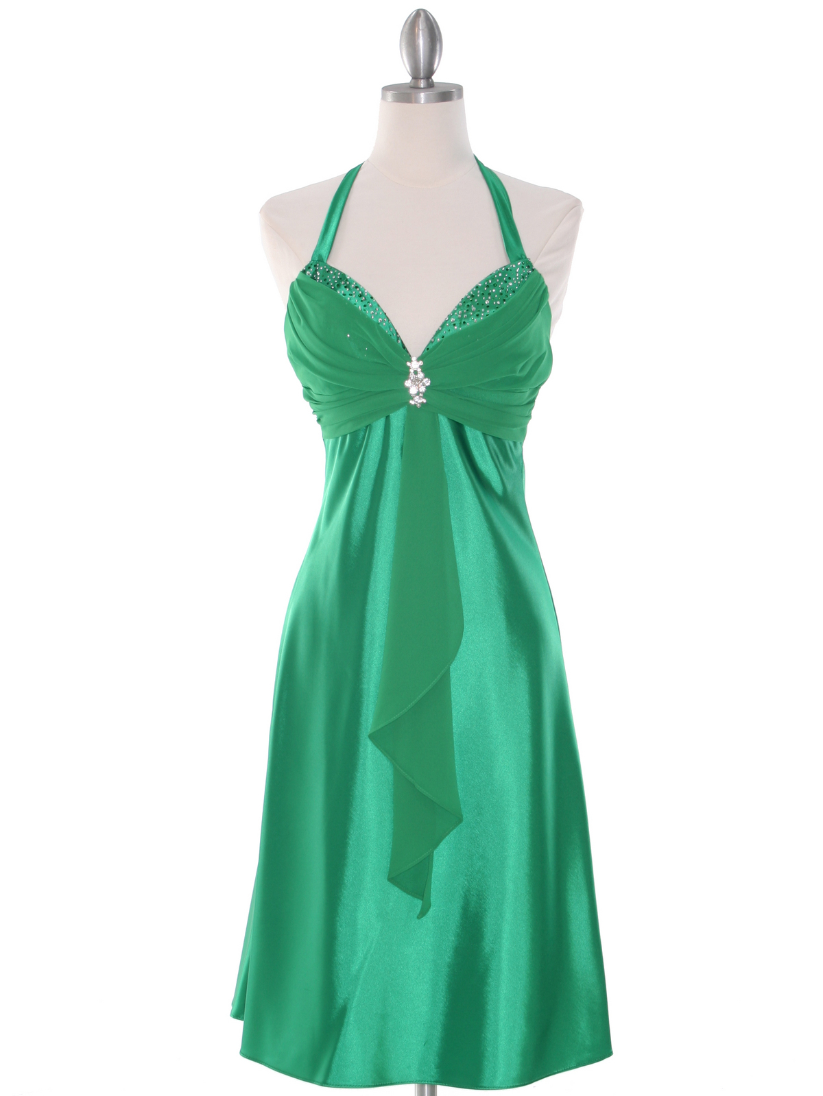 Green Halter Cocktail Dress with Rhinestone Pin | Sung
