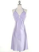 7129 Lilac Halter Cocktail Dress with Rhinestone Pin, Lilac