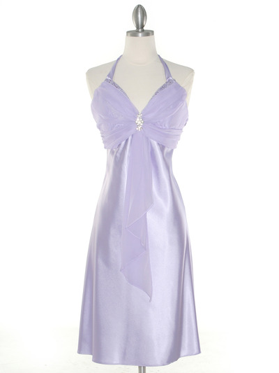 7129 Lilac Halter Cocktail Dress with Rhinestone Pin - Lilac, Front View Medium