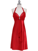 Red Halter Cocktail Dress with Rhinestone Pin