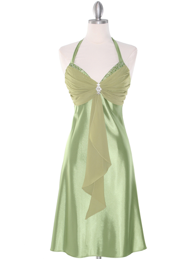 7129 Sage Halter Cocktail Dress with Rhinestone Pin    - Sage, Front View Medium