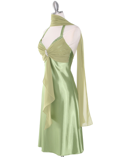 7129 Sage Halter Cocktail Dress with Rhinestone Pin    - Sage, Alt View Medium