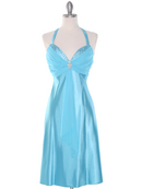Turquoise Halter Cocktail Dress with Rhinestone Pin