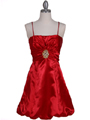 7151 Red Satin Cocktail Dress - Red, Front View Thumbnail