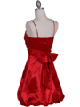 7151 Red Satin Cocktail Dress - Red, Back View Thumbnail