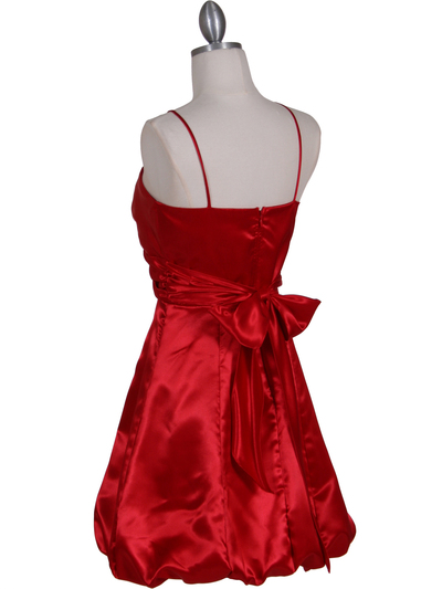 7151 Red Satin Cocktail Dress - Red, Back View Medium