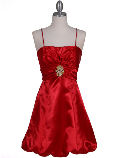 7151 Red Satin Cocktail Dress - Red, Front View Medium
