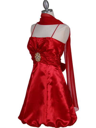 7151 Red Satin Cocktail Dress - Red, Alt View Medium