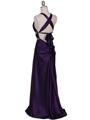 7154 Purple Satin Evening Dress - Purple, Back View Thumbnail