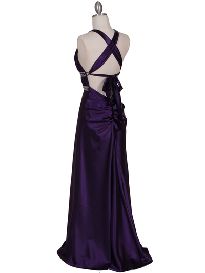 7154 Purple Satin Evening Dress - Purple, Back View Medium