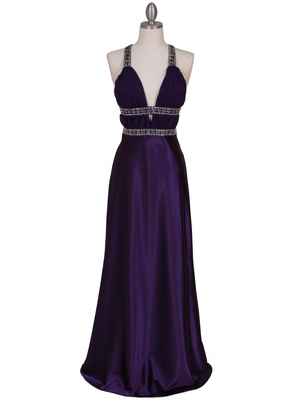 7154 Purple Satin Evening Dress, Purple
