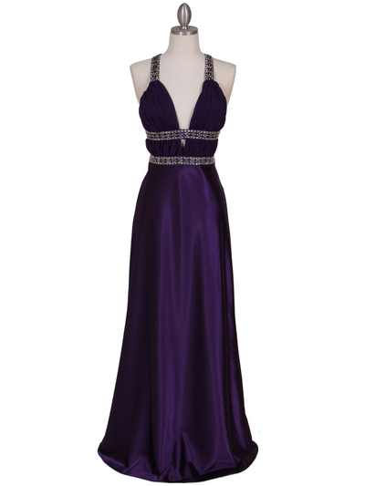7154 Purple Satin Evening Dress - Purple, Front View Medium