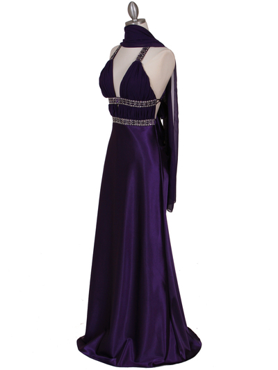 7154 Purple Satin Evening Dress - Purple, Alt View Medium