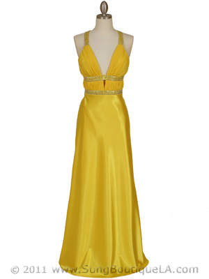 7154 Yellow Satin Evening Dress, Yellow