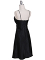7166 Black Cocktail Dress with Rhinestone Trim - Black, Back View Thumbnail