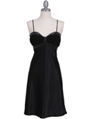 7166 Black Cocktail Dress with Rhinestone Trim, Black