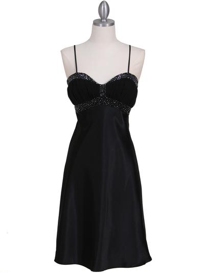 7166 Black Cocktail Dress with Rhinestone Trim - Black, Front View Medium