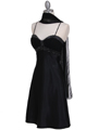 7166 Black Cocktail Dress with Rhinestone Trim - Black, Alt View Thumbnail