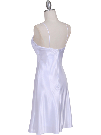 7167 White Chiffon Top Cocktail Dress - White, Back View Medium