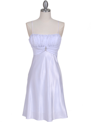 White Chiffon Top Cocktail Dress - Front Image