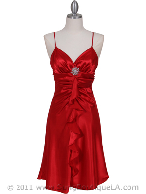 7168 Red Cocktail Dress with Rhinestone Pin, Red