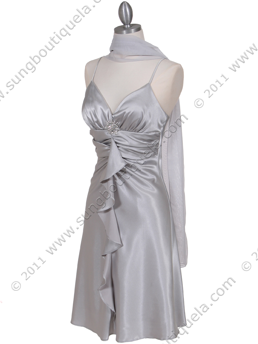 Silver Cocktail Dress With Rhinestone Pin Sung Boutique L A