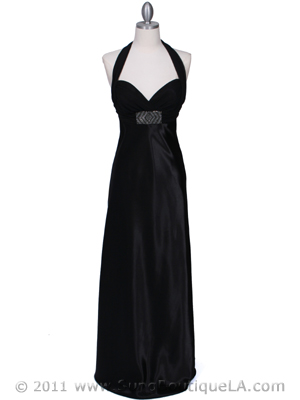 7173 Black Halter Evening Dress, Black
