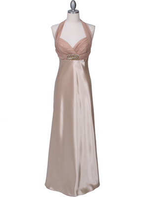 7173 Gold Halter Evening Dress, Gold