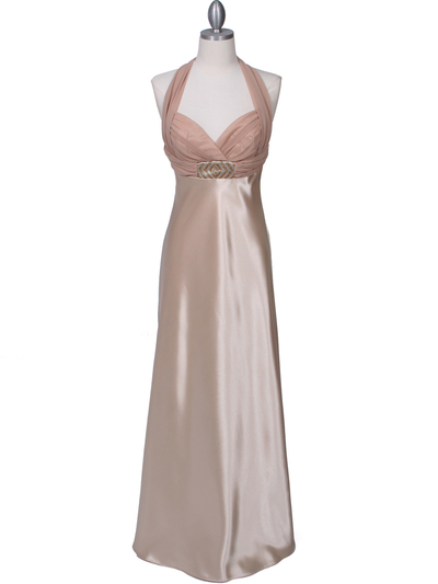7173 Gold Halter Evening Dress - Gold, Front View Medium