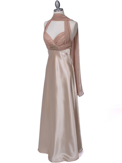 7173 Gold Halter Evening Dress - Gold, Alt View Medium